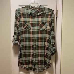 Women's plaid long button-down sz L roll sleeves